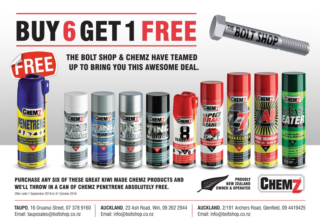 ChemZ Promotions with Boltshop and Tradezone Taupo